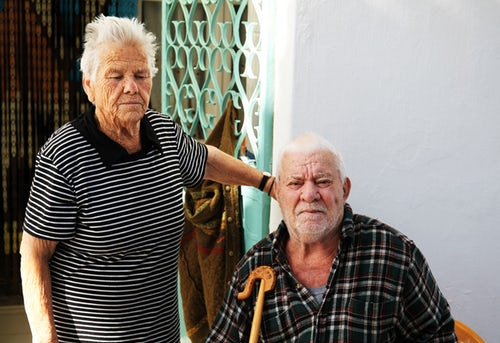 Elderly helping each other. having a companion releases the pressure of old age.